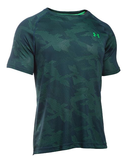 Mens Under Armour Tech Jacquard Tee Short Sleeve Technical Tops - Nova Teal/Green XL