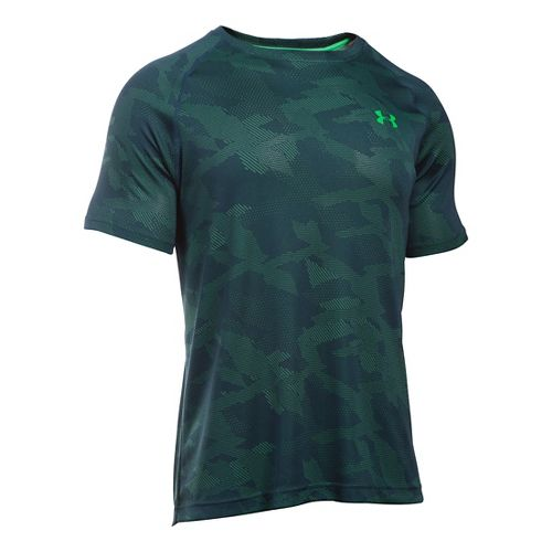 Mens Under Armour Tech Jacquard Tee Short Sleeve Technical Tops - Nova Teal/Green XXL