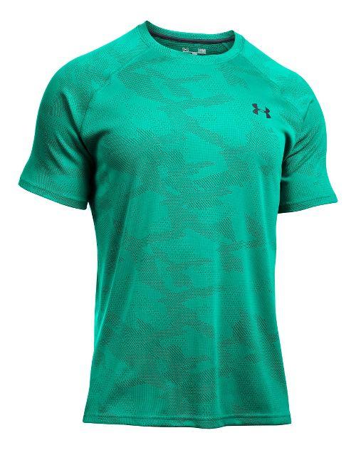 Mens Under Armour Tech Jacquard Tee Short Sleeve Technical Tops - Geode Green/Grey S
