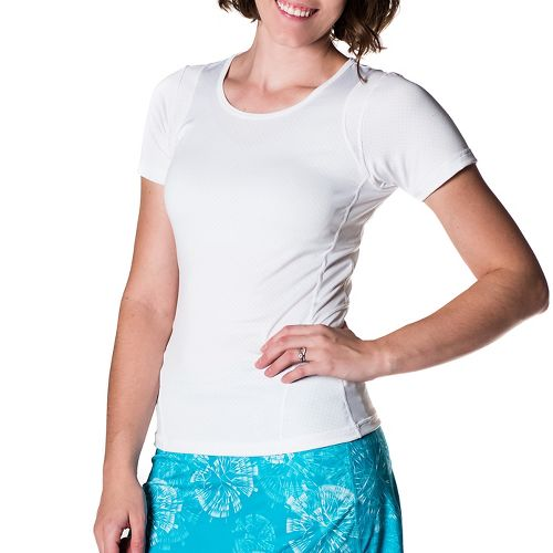 Womens Skirt Sports Circuit Tee Short Sleeve Technical Tops - White XS
