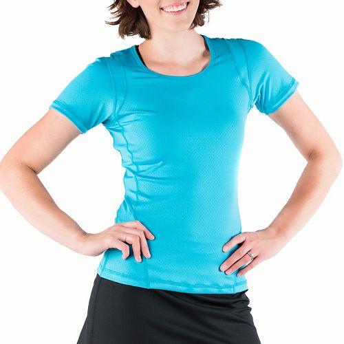 Womens Skirt Sports Circuit Tee Short Sleeve Technical Tops - Aquamarine XL