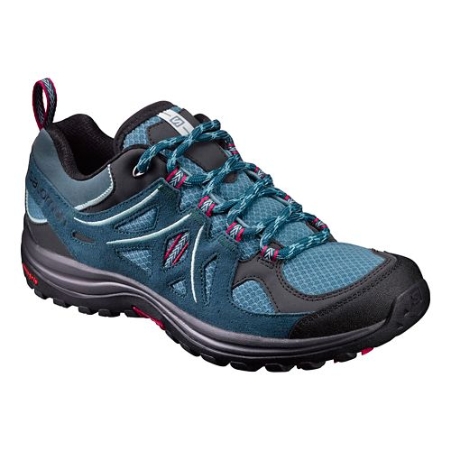 Womens Salomon Ellipse 2 Aero Hiking Shoe - Black/Teal 5.5