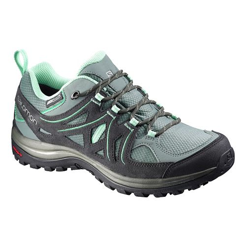 Womens Salomon Ellipse 2 CS WP Hiking Shoe - Grey/Green 9.5