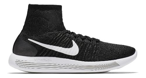 Mens Nike LunarEpic Flyknit Running Shoe - Black/White 11.5