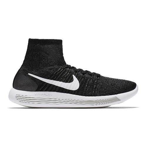 Mens Nike LunarEpic Flyknit Running Shoe - Black/White 11