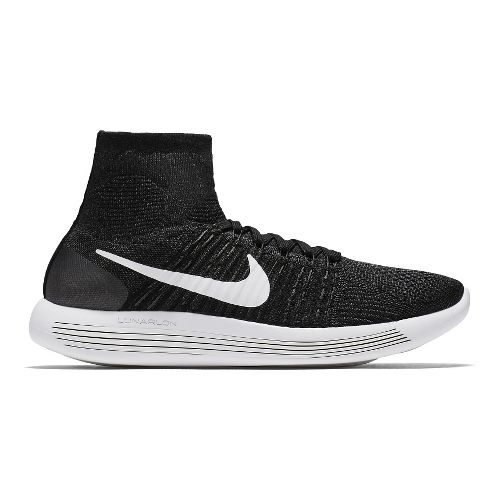 Mens Nike LunarEpic Flyknit Running Shoe - Black/White 12