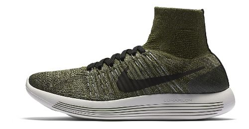 Mens Nike LunarEpic Flyknit Running Shoe - Green/Black 11.5