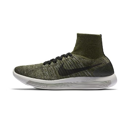 Mens Nike LunarEpic Flyknit Running Shoe - Green/Black 10.5