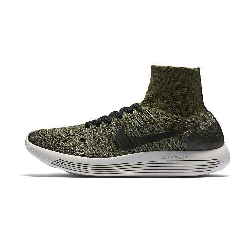 Mens Nike LunarEpic Flyknit Running Shoe - Green/Black 12