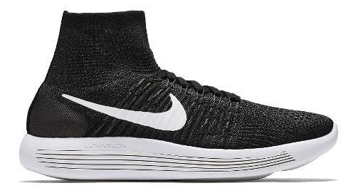 Womens Nike LunarEpic Flyknit Running Shoe - Black/White 7.5