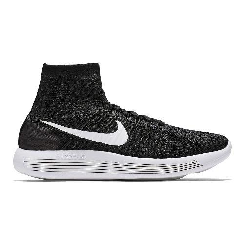 Womens Nike LunarEpic Flyknit Running Shoe - Black/White 6