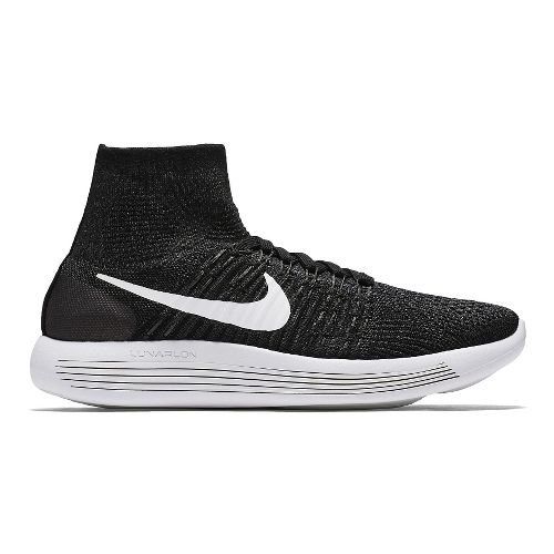 Womens Nike LunarEpic Flyknit Running Shoe - Black/White 9.5