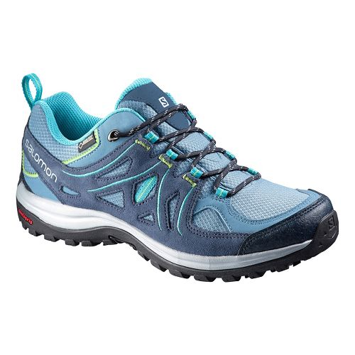 Womens Salomon Ellipse 2 GTX Hiking Shoe - Rainy Blue/Teal 5.5