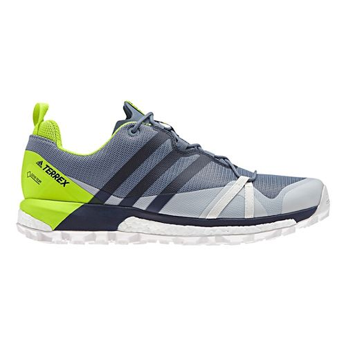 Mens adidas Terrex Agravic GTX Trail Running Shoe - Grey/Shock Blue 8.5