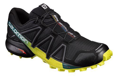 Mens Salomon Speedcross 4 Trail Running Shoe - Black/Yellow 10