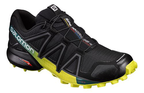Mens Salomon Speedcross 4 Trail Running Shoe - Black/Yellow 7.5