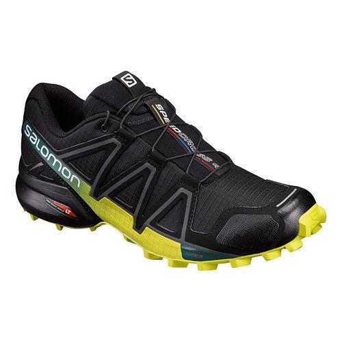 Mens Salomon Speedcross 4 Trail Running Shoe - Black/Yellow 7.5