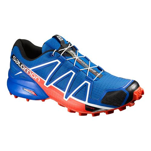 Mens Salomon Speedcross 4 Trail Running Shoe - Blue/Black/Orange 14