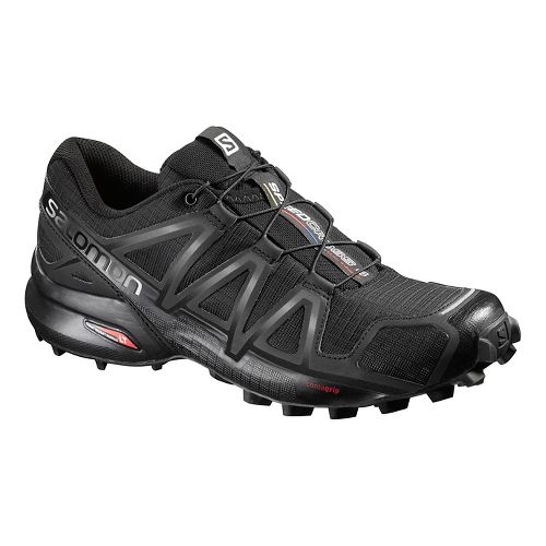 Womens Salomon Speedcross 4 Trail Running Shoe - Black/Metallic 5