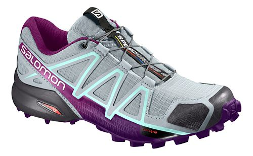 Womens Salomon Speedcross 4 Trail Running Shoe - Grey/Acai 10.5