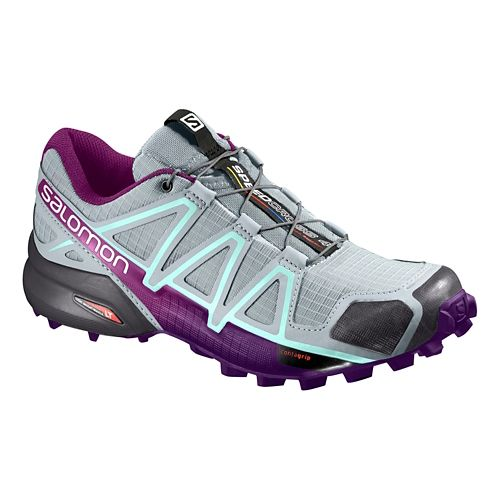 Womens Salomon Speedcross 4 Trail Running Shoe - Grey/Acai 7.5