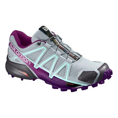 Womens Salomon Speedcross 4 Trail Running Shoe - Grey/Acai 8