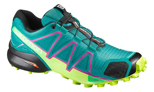 Womens Salomon Speedcross 4 Trail Running Shoe - Peacock Blue/Lime 6