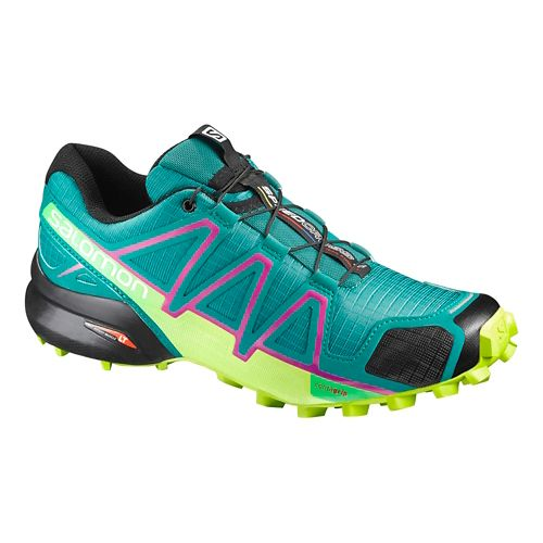 Womens Salomon Speedcross 4 Trail Running Shoe - Peacock Blue/Lime 7.5