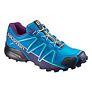 Womens Salomon Speedcross 4 Trail Running Shoe - Surf/Aura/Grape 8.5