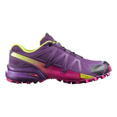 Womens Salomon Speedcross 4 Trail Running Shoe - Cosmic Purple/Gecko Green 10.5