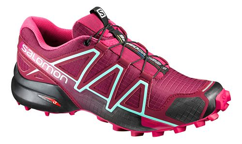 Womens Salomon Speedcross 4 Trail Running Shoe - Red/Sangria 9