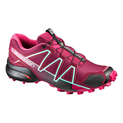 Womens Salomon Speedcross 4 Trail Running Shoe - Red/Sangria 6.5