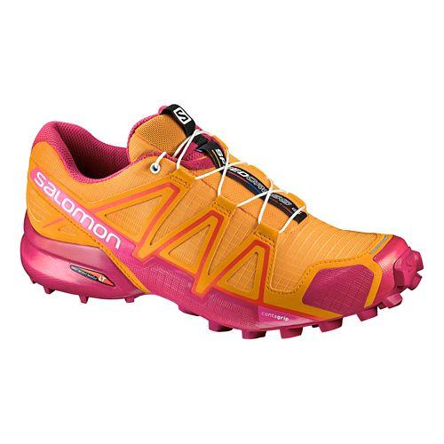 Womens Salomon Speedcross 4 Trail Running Shoe - Marigold/Sangira 9