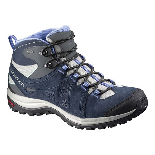 Womens Salomon Ellipse 2 Mid LTR GTX Hiking Shoe - Blue/Grey 8.5