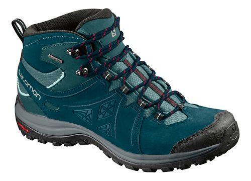 Womens Salomon Ellipse 2 Mid LTR GTX Hiking Shoe - Teal/Grey 10