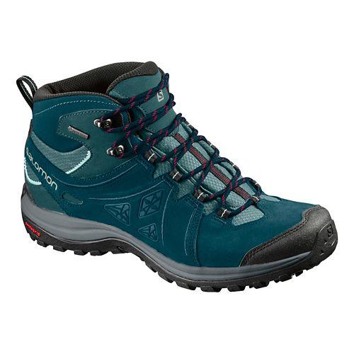 Womens Salomon Ellipse 2 Mid LTR GTX Hiking Shoe - Teal/Grey 7.5