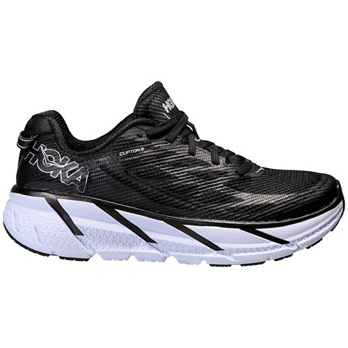 Mens Hoka One One Clifton 3 Running Shoe - Black/White 12.5
