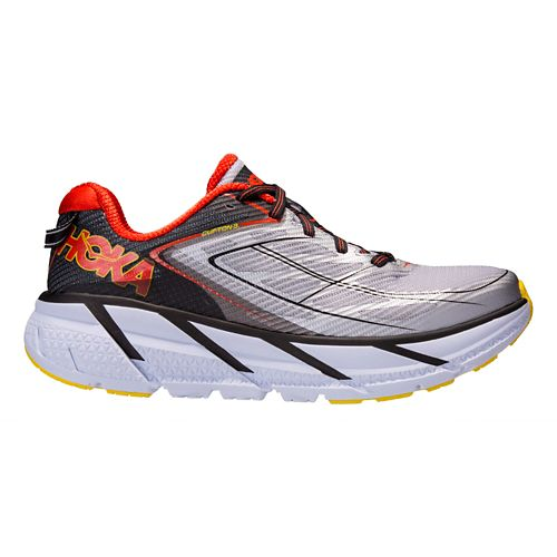 Mens Hoka One One Clifton 3 Running Shoe - Grey/Orange 8.5