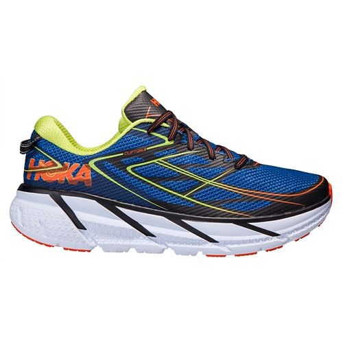 Mens Hoka One One Clifton 3 Running Shoe - Blue/Orange 7.5