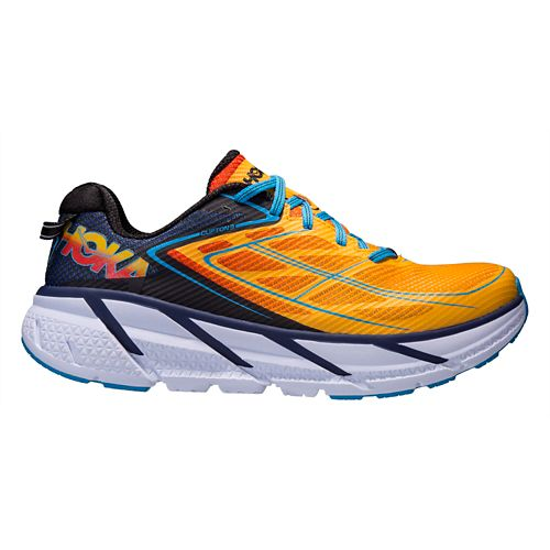 Mens Hoka One One Clifton 3 Running Shoe - Blue/Gold 12.5