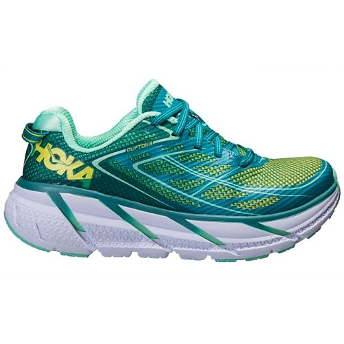 Womens Hoka One One Clifton 3 Running Shoe - Green/Spring Bud 10.5