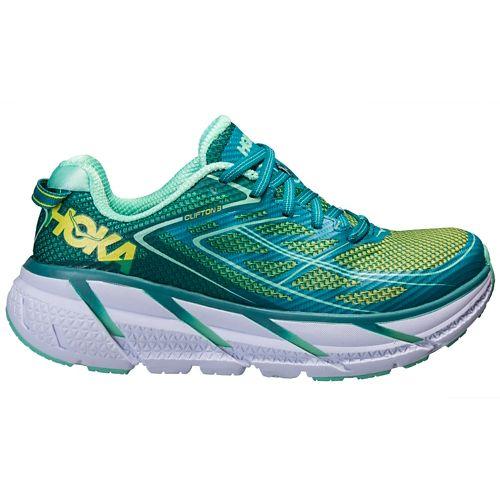Womens Hoka One One Clifton 3 Running Shoe - Green/Spring Bud 7