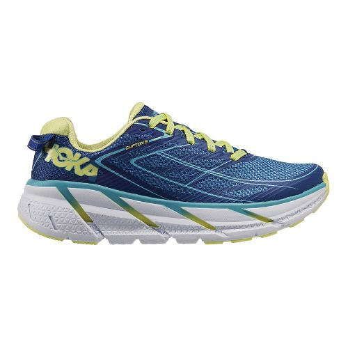 Womens Hoka One One Clifton 3 Running Shoe - Blue/Lime 5.5