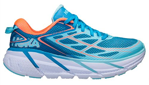 Womens Hoka One One Clifton 3 Running Shoe - Turquoise/Coral 5