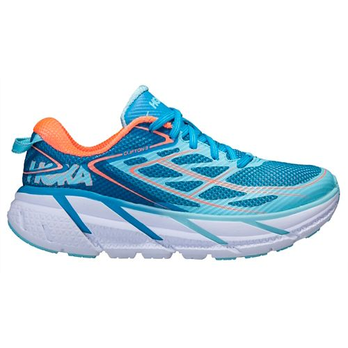 Womens Hoka One One Clifton 3 Running Shoe - Turquoise/Coral 7.5