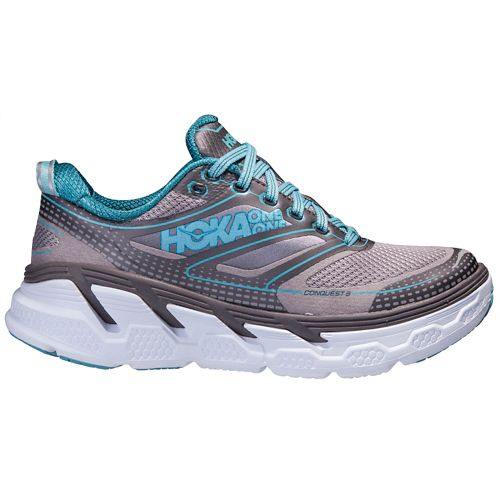 Womens Hoka One One Conquest 3 Running Shoe - Grey/Blue 9.5