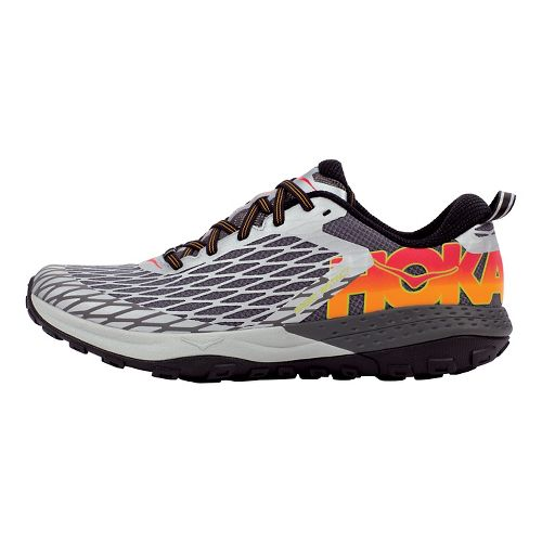 Mens Hoka One One Speed Instinct Trail Running Shoe - Silver/Red 8.5