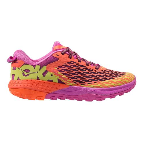 Womens Hoka One One Speed Instinct Trail Running Shoe - Coral/Plum 5