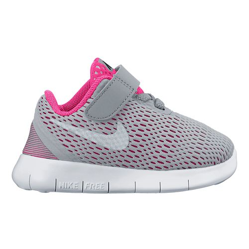 Kids Nike Free RN Running Shoe - Grey/Pink 7C
