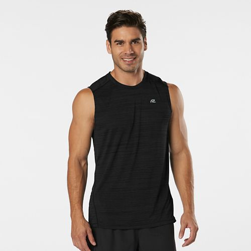 Mens R-Gear Runner's High Printed Sleeveless & Tank Technical Tops - Black M